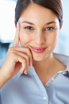 Buy stock photo Closeup of pretty young female executive smiling