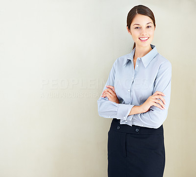 Buy stock photo Portrait of pretty business woman standing with hands folded - copyspace