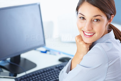 Buy stock photo Portrait of pretty business woman sitting at table and giving you cute smile