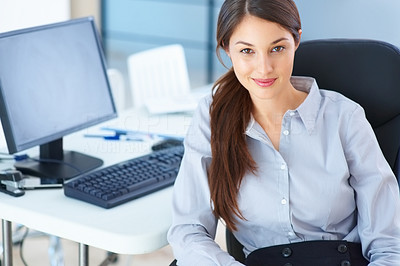 Buy stock photo Portrait of business woman sitting on chair and giving you an attractive smile