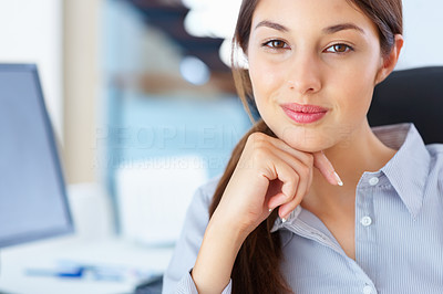 Buy stock photo Closeup of young female executive sitting on chair and giving you cute smile