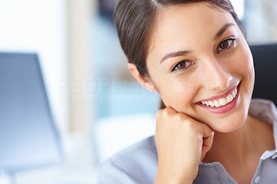 Buy stock photo Closeup of a fesh-faced young business woman giving you a bright smile at work - copyspace