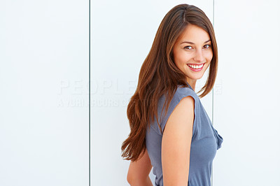 Buy stock photo Portrait of attractive young woman giving you cute smile