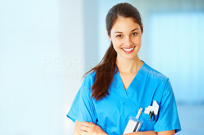 Buy stock photo Confident professional doctor smiling with hands folded - copyspace