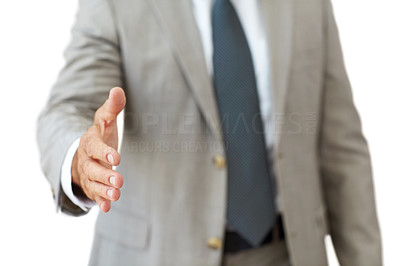 Buy stock photo Cropped image of businessman hand held to make a deal against white - Isolated