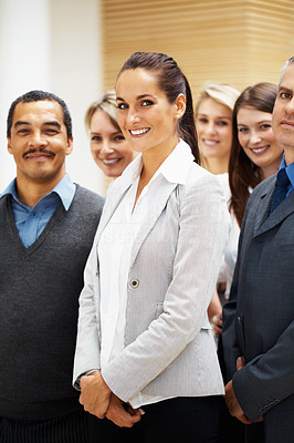 Buy stock photo Group of businesspeople standing and smiling