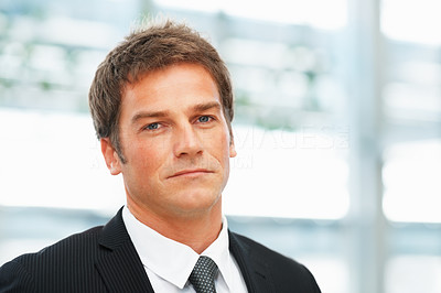Buy stock photo Portrait of businessman with serious expression