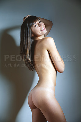 Buy stock photo Side shot of a beautiful nude female