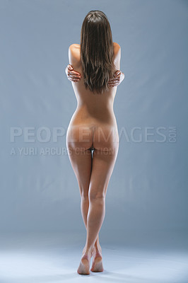 Buy stock photo Rearview studio shot of a naked model
