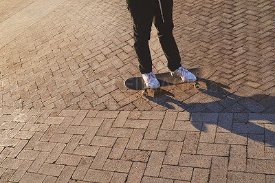 Buy stock photo Cropped shot of a skater in the city