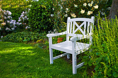 Buy stock photo Garden with white chair in springtime