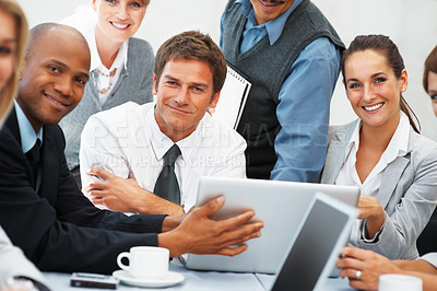 Buy stock photo Portrait of executives smiling during meeting