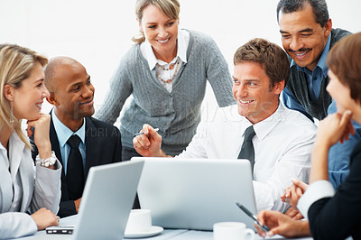 Buy stock photo Group of executives smiling during meeting