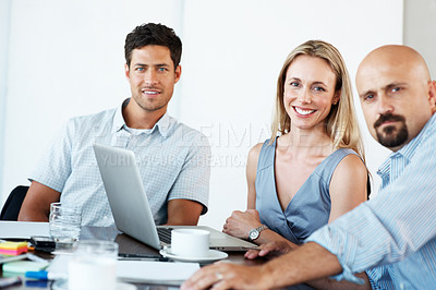 Buy stock photo Teamwork - Business colleague working together on an important project during a meeting