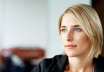 Buy stock photo Portrait of a creative young business woman looking away - Copyspace