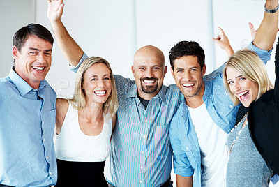 Buy stock photo Group of casual businesspeople smiling together and having fun - Positive