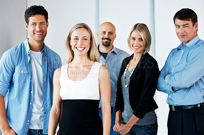 Buy stock photo Portrait of a smiling young female standing with her business colleague - Indoor