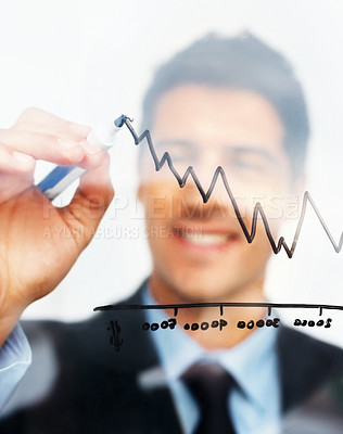 Buy stock photo Happy executive drawing a chart representing growth