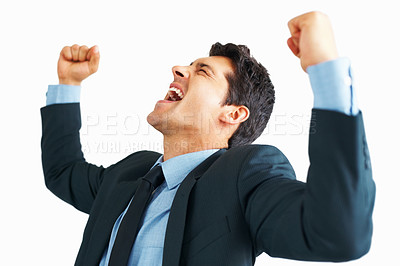 Buy stock photo Young business man screaming with fists clenched on white background