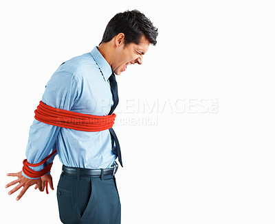Buy stock photo Side view of frustrated executive tied up with rope