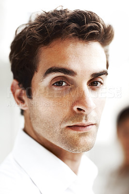 Buy stock photo Closeup portrait of a smart man face looking at you with attitude