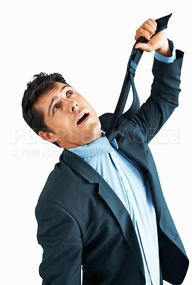 Buy stock photo View of executive strangling himself with necktie on white background