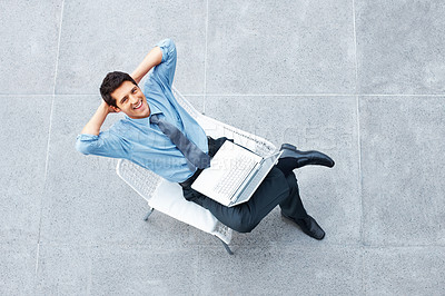 Buy stock photo Top view of businessman taking break from business
