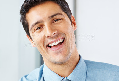 Buy stock photo Closeup of executive tilting head and smiling