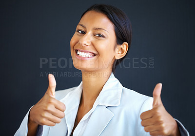 Buy stock photo Business woman happy to give thumbs up