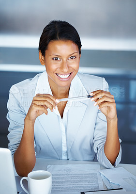 Buy stock photo Top view of business woman holding pen near laptop