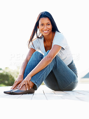 Buy stock photo View of beautiful woman sitting on deck outdoors