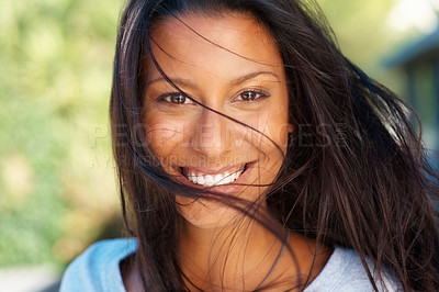 Buy stock photo Closeup of woman with windswept hair