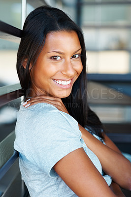 Buy stock photo Pretty woman sitting and relaxing