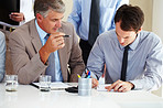 Business people working during a meeting