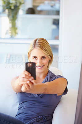 Buy stock photo Pretty business woman taking picture from mobile camera