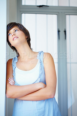 Buy stock photo Portrait of thinking woman looking up