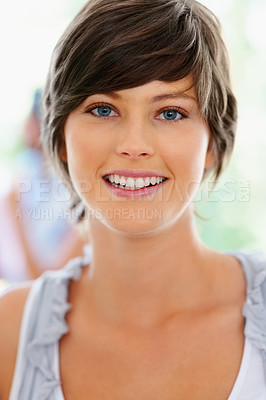 Buy stock photo Closeup of woman smiling wearing casual clothes