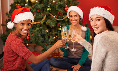 Buy stock photo Portrait of three happy young women toasting each other while sitting beside a Christmas tree