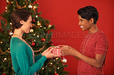 Buy stock photo Shot of two young women exchanging gifts at Christmas