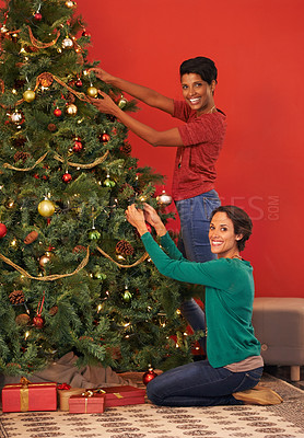 Buy stock photo Shot of two young women decorating a Christmas tree