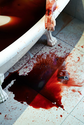Buy stock photo Shot of a woman bleeding out in a bathtub