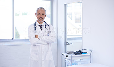 Buy stock photo Portrait of a doctor standing in a well-lit room