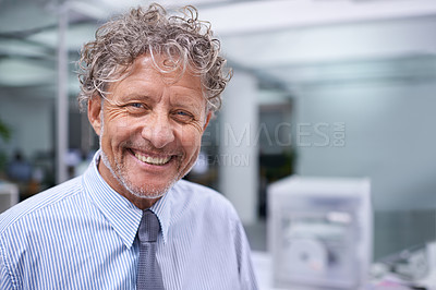 Buy stock photo Head and shoulders portrait of a mature businessman in an office