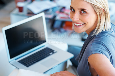 Buy stock photo Top view of woman working on laptop
