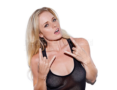 Buy stock photo Portrait of a rebellious young blonde woman gesturing