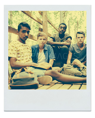 Buy stock photo Framed image of a group of teen boys hanging out together outside