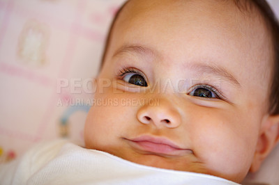 Buy stock photo Closeup portrait of an adorable little baby