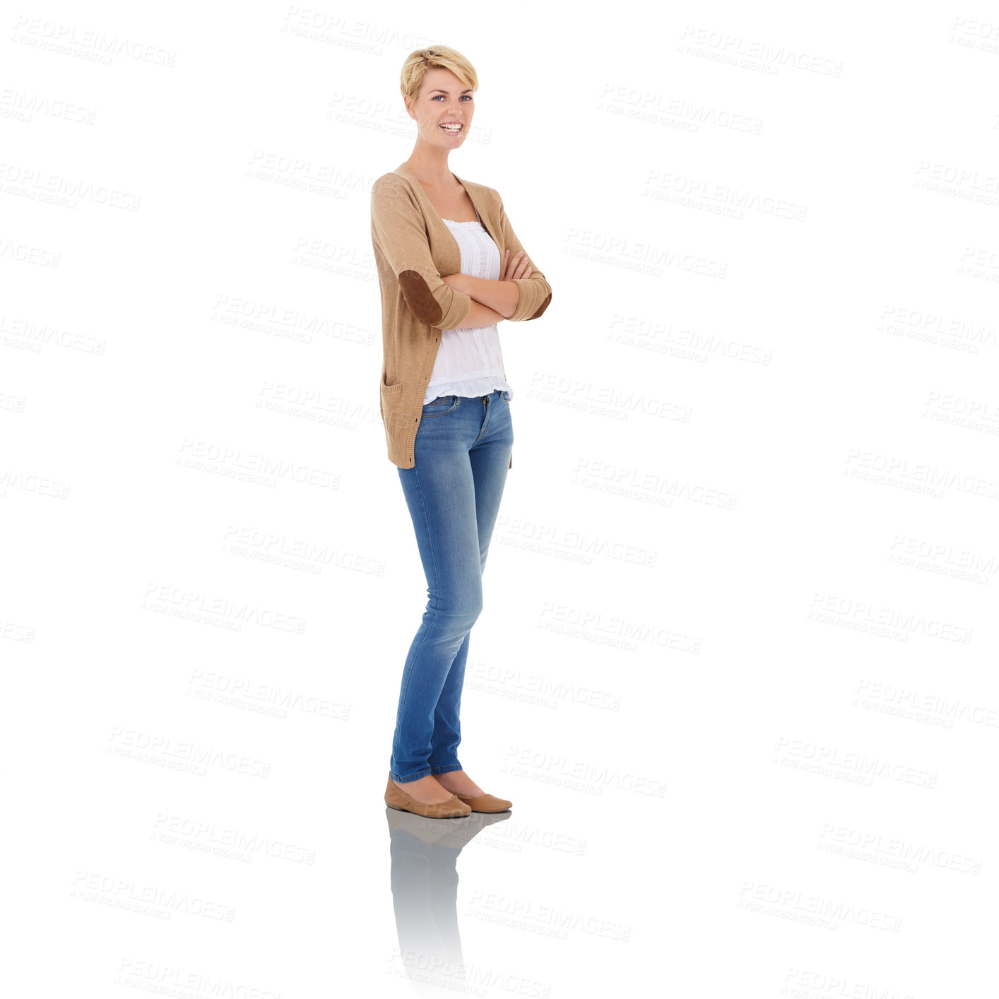 Buy stock photo Studio portrait of a casually dressed woman isolated on white