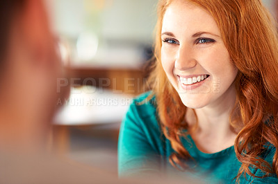 Buy stock photo Closeup shot of an affectionate young couple on a date