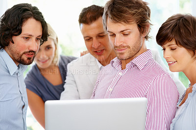 Buy stock photo Group of people having discussion about project